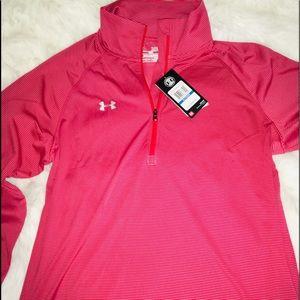 Under Armour Red/Gray Stripe 1/4 zip men's shirt